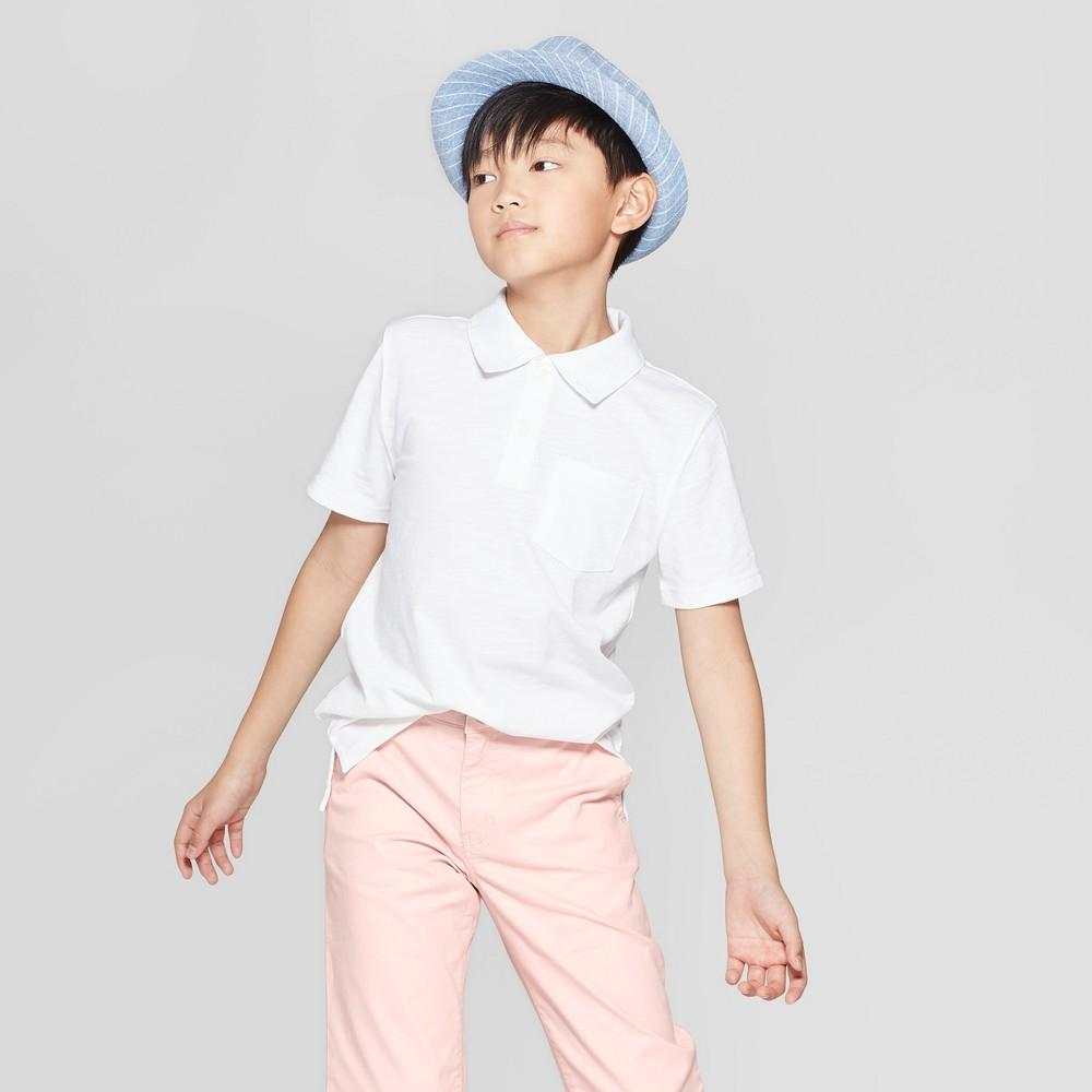 Boys' Short Sleeve Slub Knit Polo Shirt - Cat & Jack White Xxl