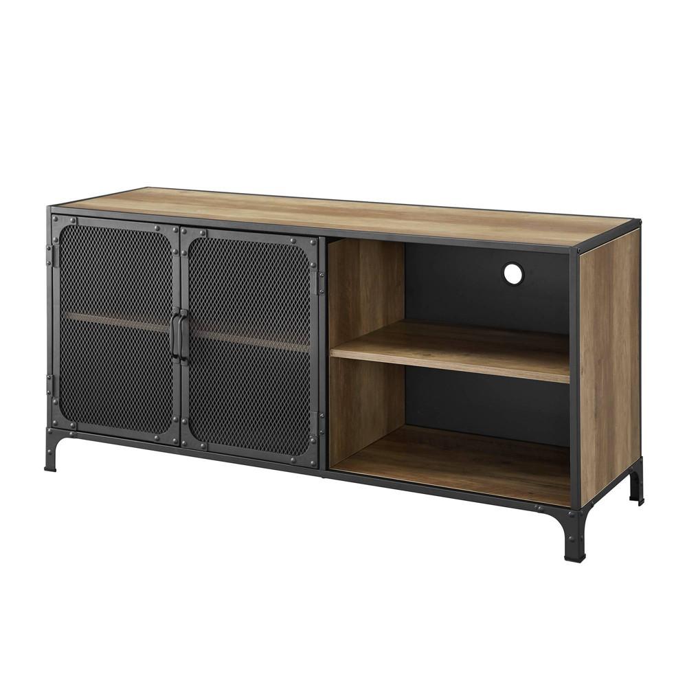 52 Industrial Metal & Wood TV Stand Reclaimed Barnwood - Saracina Home