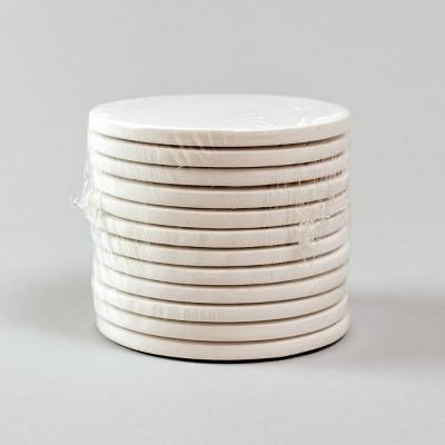 """12ct White Ceramic Paintable 4"""" Round Coasters - Bullseye's Playground™"""