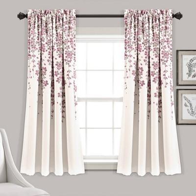 Set of 2 Weeping Flower Room Darkening Window Curtain Panels - Lush Décor