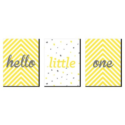 Big Dot of Happiness Hello Little One - Yellow and Gray - Baby Girl or Boy Nursery Wall Art & Kids Room Decor - 7.5 x 10 inches - Set of 3 Prints