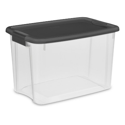 Sterilite 30 Qt Ultra Clear Storage Box with Gray Lid & Latches
