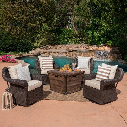 Blanca 5pc Wicker Swivel Club Chairs And Fire Pit Set Dark Brown Christopher Knight Home Target
