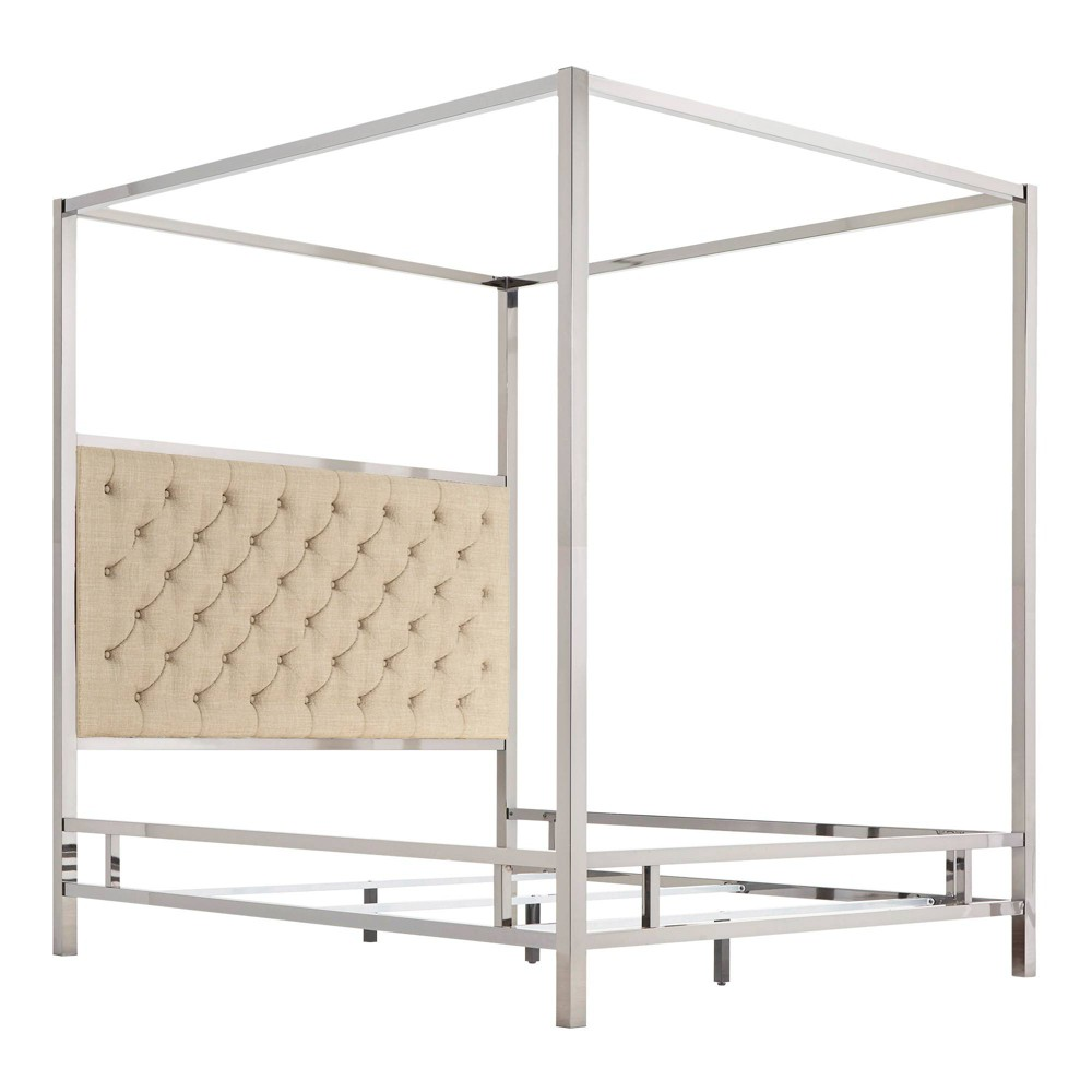 Queen Manhattan Canopy Bed with Diamond Tufted Headboard Oatmeal Brown - Inspire Q