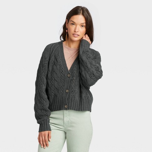 Women's Button-Front Cable Stitch Cardigan - Universal Thread™ - image 1 of 3