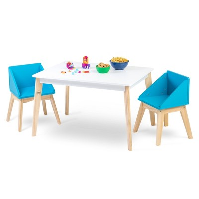 Modern Table and Chair Set Chairs White/Natural/Blue - WildKin