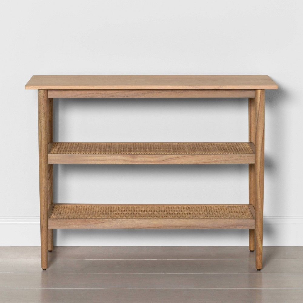 Image of Wood Console Table with Caning - Hearth & Hand with Magnolia, Brown