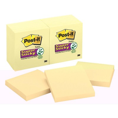 Post-it Sticky Notes, 3 x 3 Inches, Canary Yellow, 12 Pads with 90 Sheets