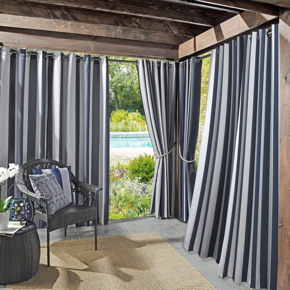 Valencia Cabana Stripe Indoor/Outdoor UV Protectant Curtain Panel Indigo (Blue) 54