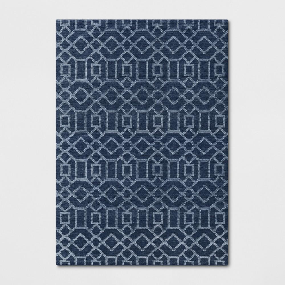 7'X10' Woven Geometric Area Rug Denim (Blue) - Project 62
