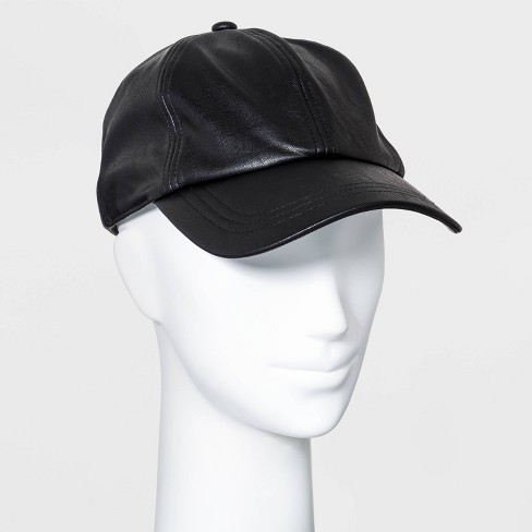 Women's Faux Leather Baseball Hat - A New Day™ Black - image 1 of 2