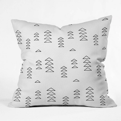 "18""x18"" June Journal Minimalist Triangles Square Throw Pillow White/Black - Deny Designs"