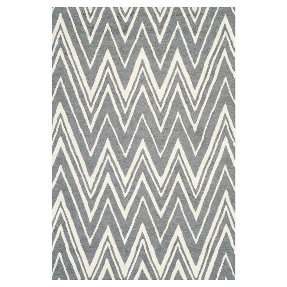 Burton Textured Rug - Dark Gray / Ivory (4' X 6') - Safavieh, Dark Gray/Ivory