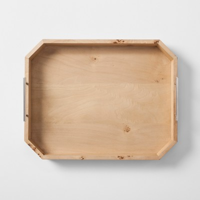 Burled Wood Tray with Metal Handles - Project 62™