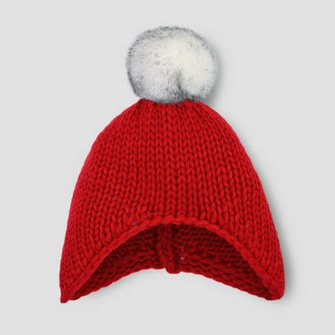 Toddler Beanie With Faux Fur Pom - Cat   Jack™ Red 2T-5T   Target 0cee8b3f6da