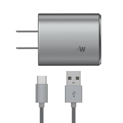 Just Wireless 3.4A/17W 2-Port USB-C/USB-A Home Charger with 6ft Mesh Type-C to USB-A Cable - Gray
