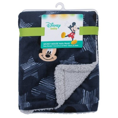 Disney Mickey Mouse Hello World Star Icon Super Soft Double Sided Velour Sherpa Baby Blanket