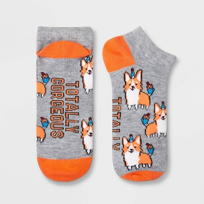 "Women's ""Totally Corgeous"" Dog Low Cut Socks - Xhilaration™ Heather Gray 4-10"
