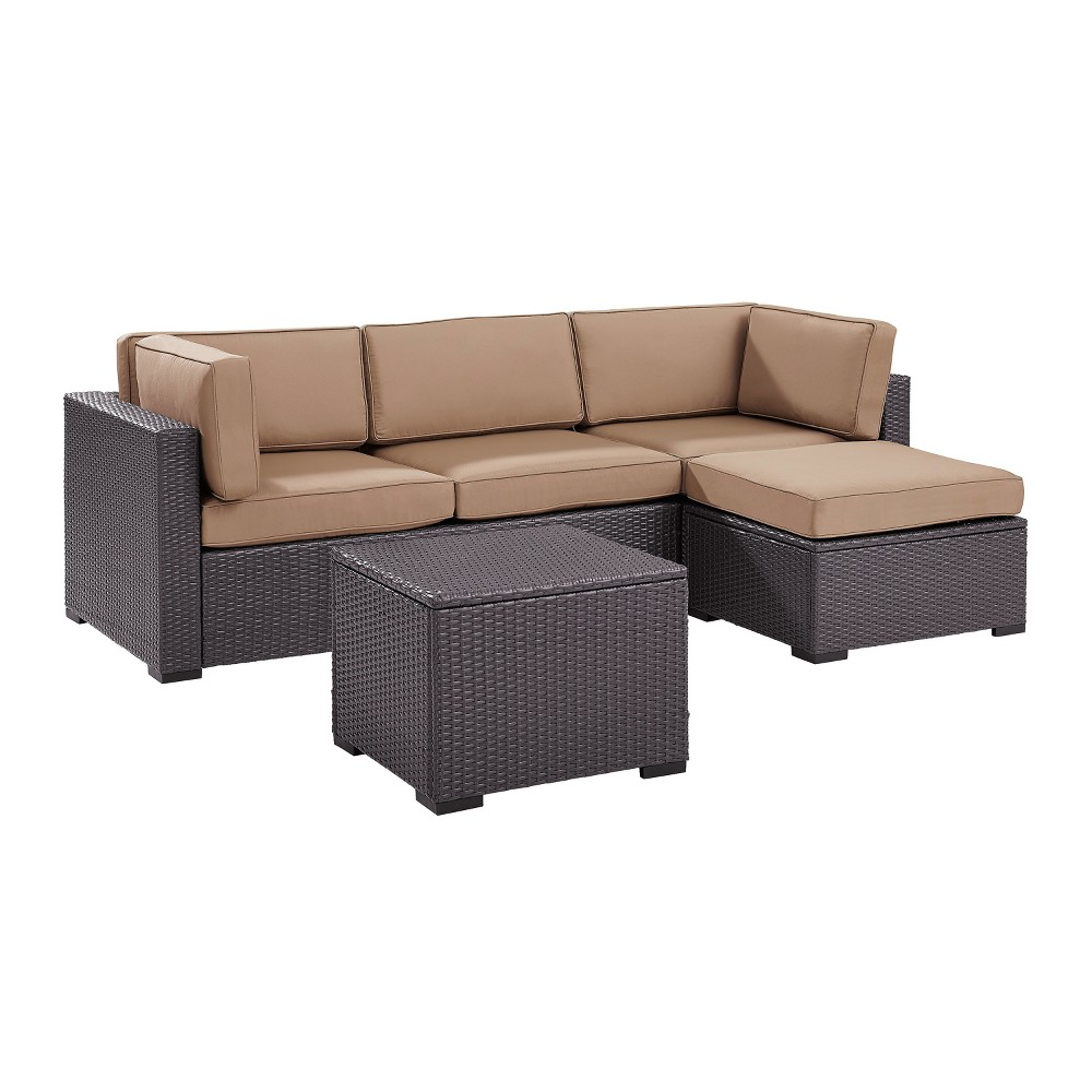 Biscayne 4pc All-Weather Wicker Seating Set - Mocha (Brown) - Crosley