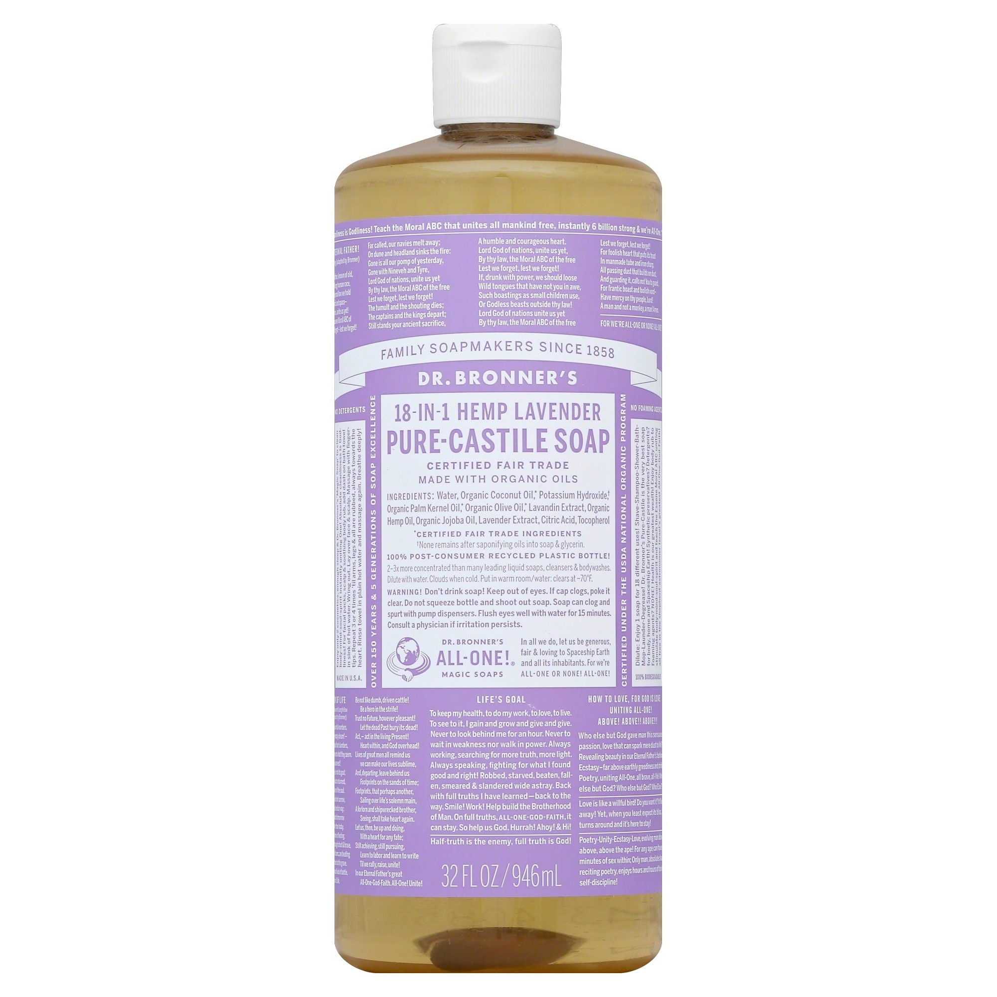 Dr. Bronner's Lavender Pure Castile Soap - 32 fl oz
