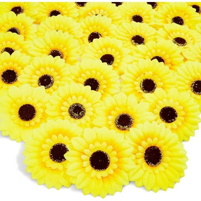 36 Pack Artificial Fake Silk Sunflower Heads for Wedding Decoration, Bridal Bouquet, Home Decor - Yellow
