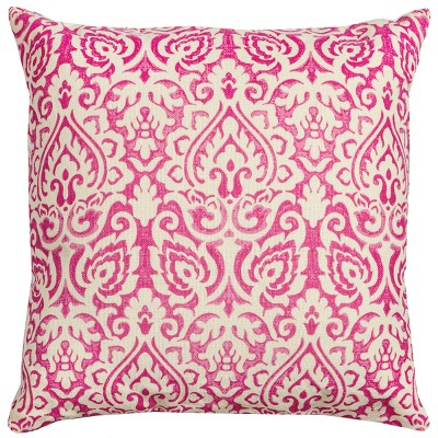 Rizzy Home Damask Throw Pillow Pink