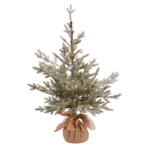 Slim Flocked Christmas Tree With Lights.3ft Flocked Pre Lit Slim Artificial Christmas Tree Potted Balsam Fir Warm White Dew Drop Led Lights Wondershop