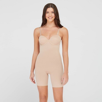 ASSETS BY SPANX Women's Flawless Finish Strapless Cupped Midthigh Bodysuit