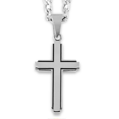 Men's West Coast Jewelry Stainless Steel Black Inlay Cut-out Cross Pendant
