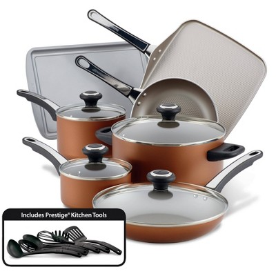 Farberware High Performance 17pc Aluminum Nonstick Cookware Set Copper