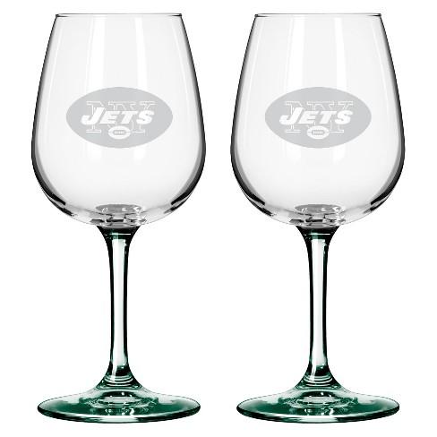 Boelter Brands New York Jets 2 Pack Wine Glass 12 Oz Target