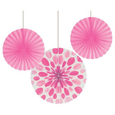 Candy Pink Dots and Stripes Paper Fans - 3 Pack
