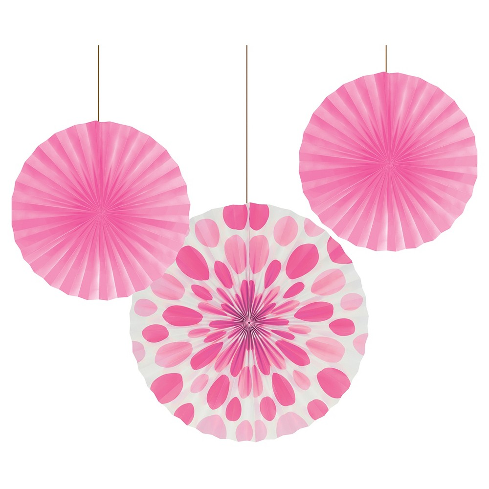 Candy Pink Dots and Stripes Paper Fans - 3 Pack, Women's