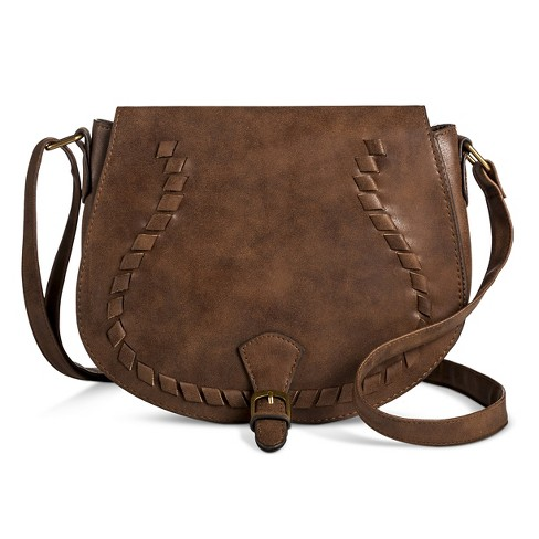 T-Shirt & Jeans™ Women's Saddle Handbag with Lacing - Brown - image 1 of 3