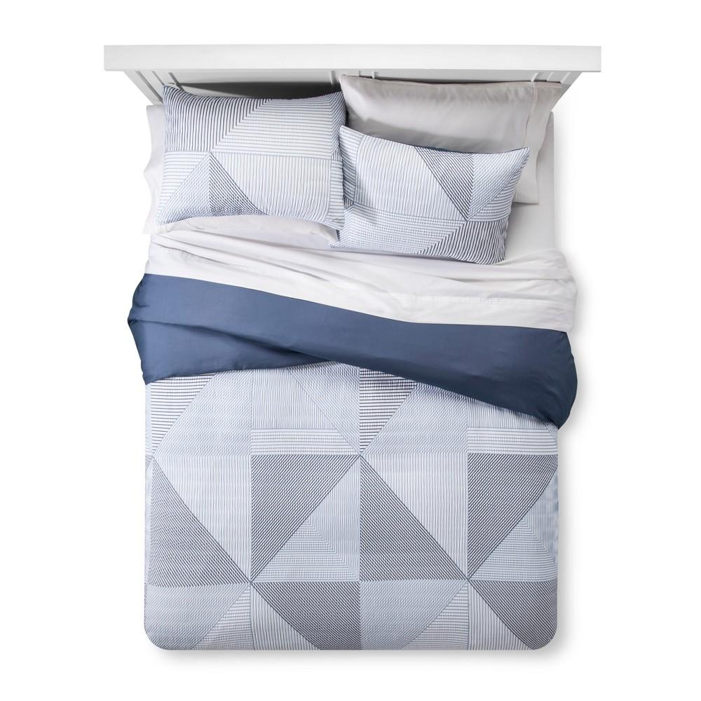 Blue Texture Stripe Duvet Cover Set (Full/Queen) 3pc - Room Essentials, Blue White