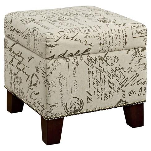 Super Alecia Script Print Cube Storage Ottoman Cream Dorel Living Machost Co Dining Chair Design Ideas Machostcouk