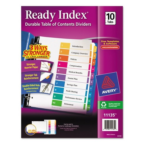 Avery® Ready Index Contemporary Table of Contents Divider, 1-10, Multi, Letter - image 1 of 4
