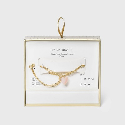 Silver Plated Shell Heart Layered Bracelet - A New Day™ Pink