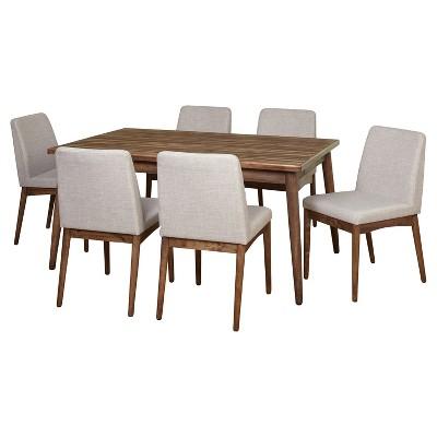 7 Piece Element Mid Century Dining Set - Walnut - Target Marketing Systems