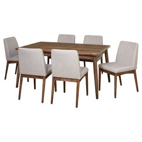 7 Piece Element Mid Century Dining Set - Walnut - Target Marketing Systems