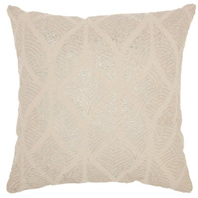 Life Styles Metallic Embroidered Feathers Square Throw Pillow Ivory/Silver - Mina Victory