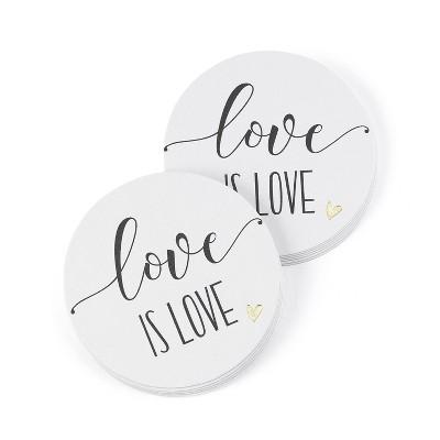 Hortense B. Hetwitt 25ct 'Love is Love' Coasters White