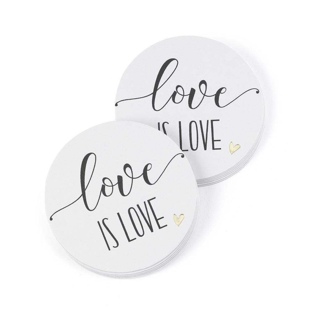 Image of Hortense B. Hetwitt 25ct 'Love is Love' Coasters White