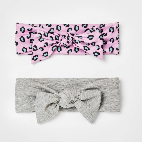 Girls' 2pk Textured Fabric Soft Headbands - Cat & Jack™ Leopard One Size - image 1 of 1
