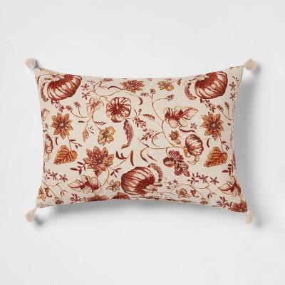 Reversible Printed Pumpkin Lumbar Throw Pillow with Corner Tassels - Threshold™