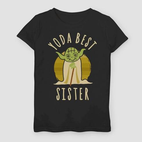 Girls' Star Wars Yoda Best Sister Family T-Shirt - Black - image 1 of 2