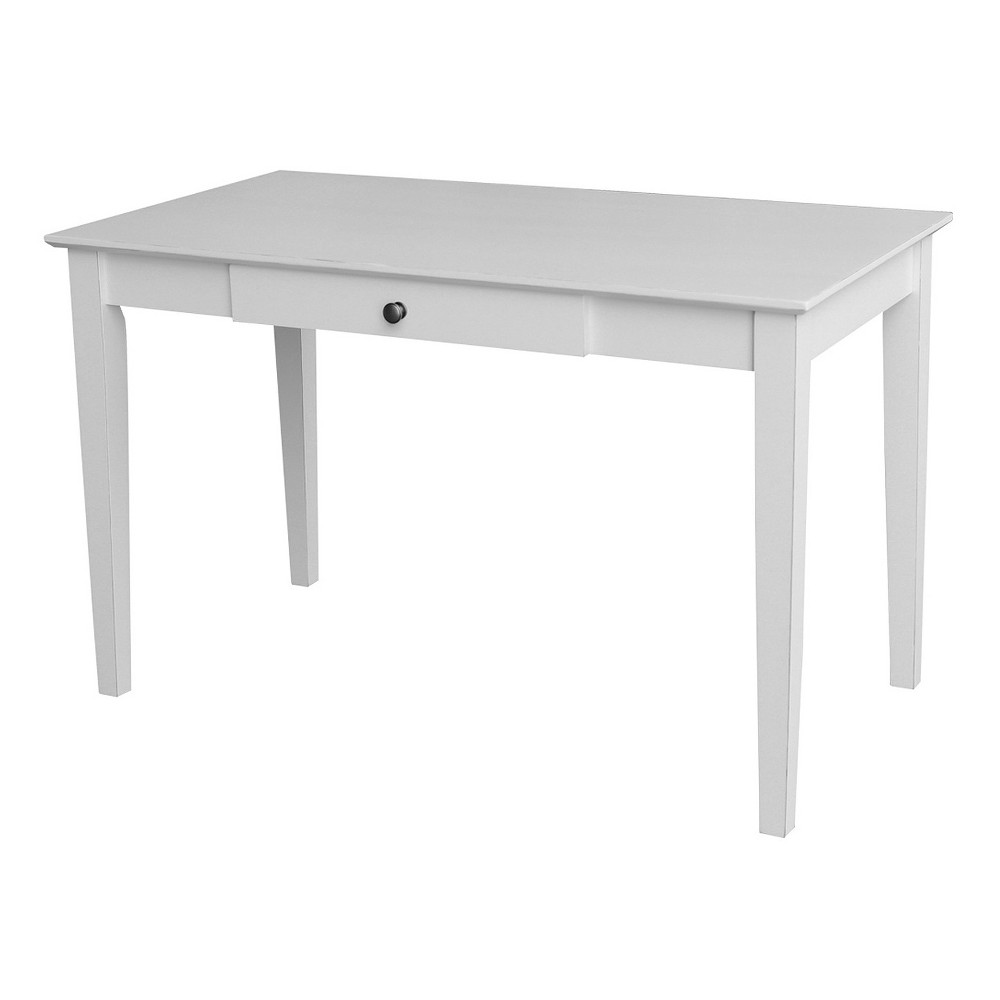 Megan Writing Desk with Drawer - Beach White - International Concepts For those who appreciate high quality wood furniture with a traditional and elegant look. International Concepts home furnishings will complement any décor. This Writing Desk has a beautiful hand-rubbed Beach White finish and comes ready to assemble.