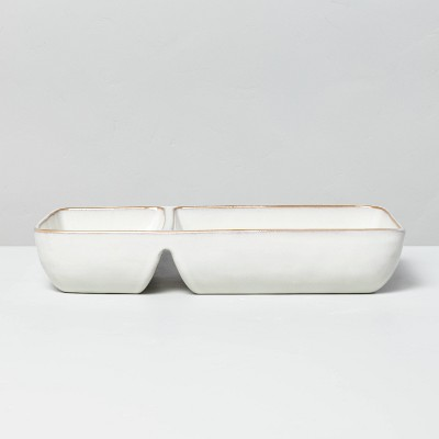 Divided Stoneware Serve Tray Sour Cream - Hearth & Hand™ with Magnolia