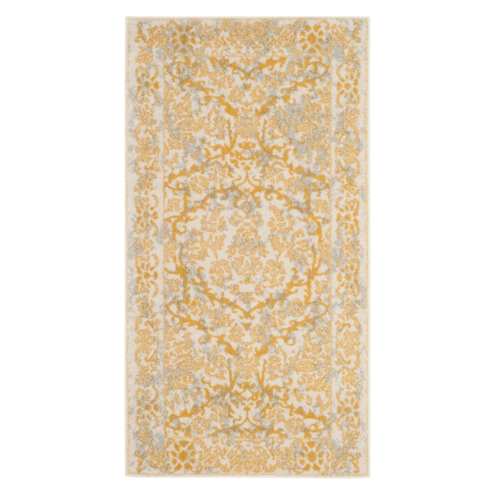 Floral Accent Rug Ivory/Gold