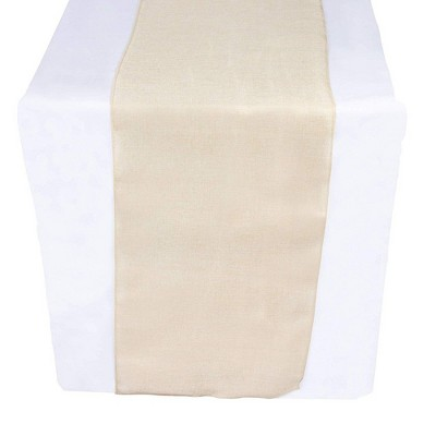 Genie Crafts Beige Linen Fabric Dining Table Runner Roll, 360 Inches Long x 17.7 in